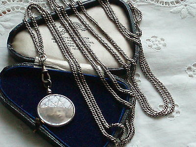 Antique Victorian Long Guard Muff Chain With Photo Locket Pendant