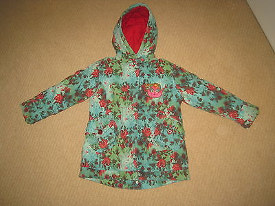 Girls OILILY Pretty Green Red Floral Padded Cosy Cat Jacket Coat 4 yrs 104 VGC