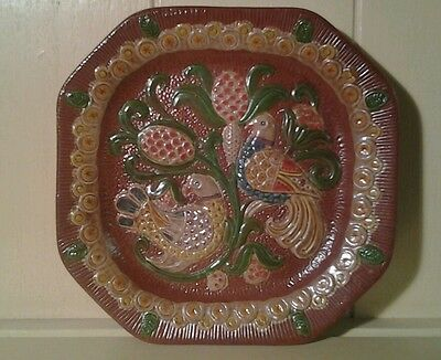 Bird of paradise design hand made terracotta decorative wall plate