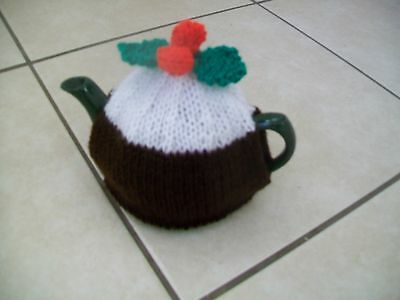 Hand Knitted Christmas Pudding Tea Cosy Small Teapot