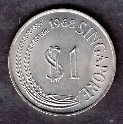 1968 Singapore Uncirculated One Dollar $1 Coin