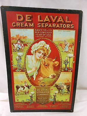 De Laval Cream Separators Vintage Dairy Cows Embossed Tin Advertising Sign