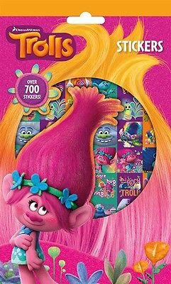 700 Trolls Stickers 9 Sticker Sheets Perfect Birthday Party Loot Bag Fillers New