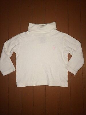 Ralph Lauren Toddler Girls Size 2 2T White Turtleneck Shirt Top Pink Pony