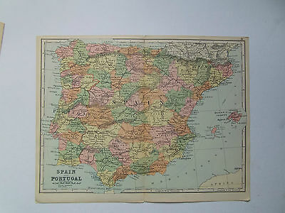 SPAIN- ANTIQUE MAP BY BACON DATED 1890  25cm x 33cm
