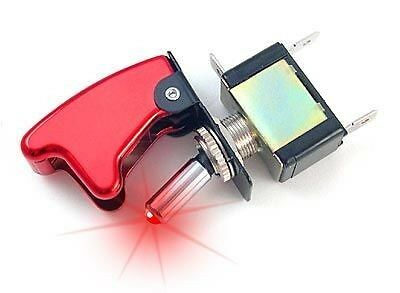 Interrupteur Aviation métal Rouge à led - 12v - Tuning - Rallye - Racing - Neuf