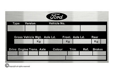 Ford Escort Sierra Cosworth Classic  data plate quality vin-tage new