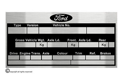 Ford Cortina MK1 Lotus M.O.T.   data plate quality vin-tage new