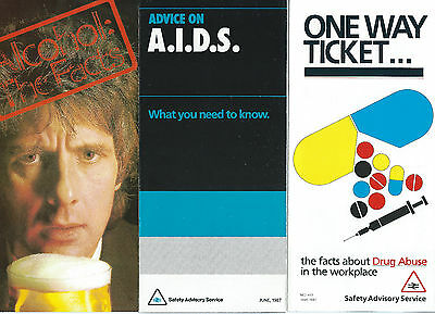 3 X 1988 British Rail Employee Information Leaflets - Drugs, Alcohol, A.i.d.s.