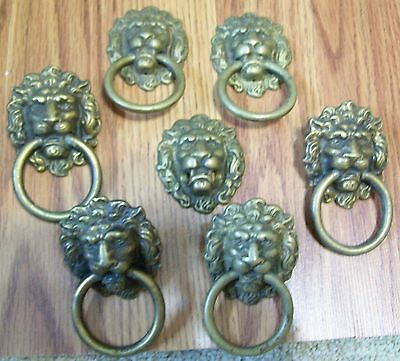Antique Door Drawer Pulls High Quality Ornate Fancy Brass Lion Heads Quality Old
