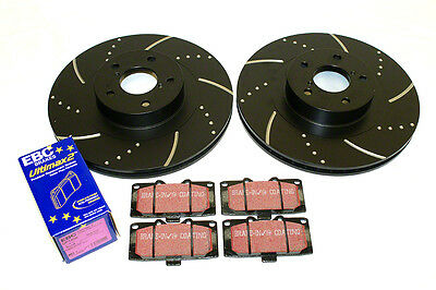 Front Brake Discs & EBC pads for Subaru Impreza Turbo WRX Dimpled & Grooved