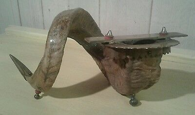 Unusual antique Nepalese /Tibetan goat horn and brass musical gong