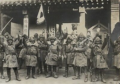RARE Vintage photo, Japanese troops celebrate in Chinchau, China 1937 good text