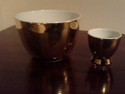 Royal Worcester Gold Lustre Open Sugar Bowl and Egg Cup