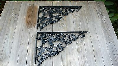 Cast Iron  Wall Shelf Bracket Bird Flower Garden
