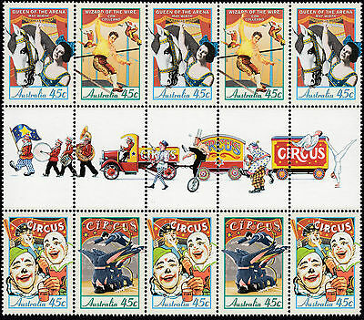 1997 Circuses of Australia 10 x 45c Stamp Gutter Strip MNH