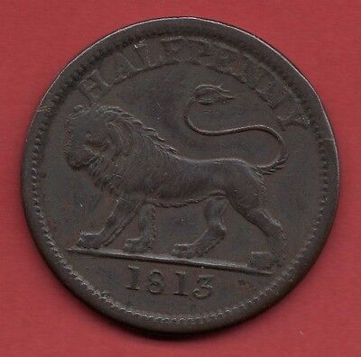 1813 Walthamstow Halfpenny Copper Token / Coin. Picture Of A Lion.