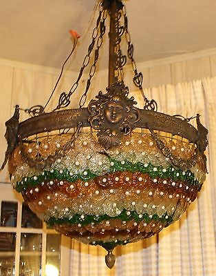 Antique Colored Crystal Rosette Pearl Chandelier Light Italy Murano Glass