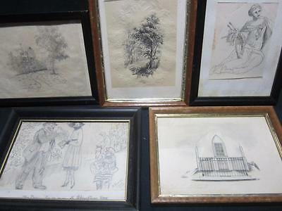 Antique Early 1800's Pencil & Ink Sketches Drawings, Art Framed w/Glass Signed