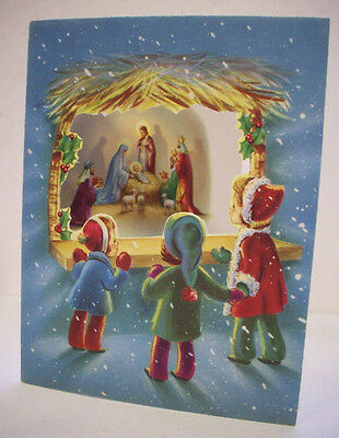 Children looking at Nativity through window Christmas vintage greeting card *J