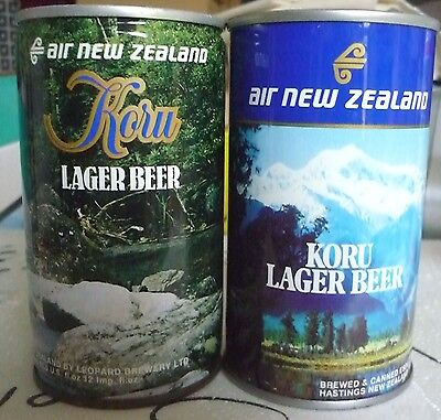 Collectable beercans -  Set of 2 Koru Lager Beer cans (Air New Zealand)