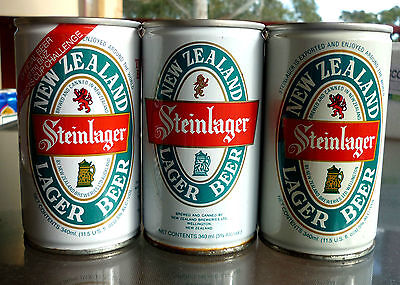 Collectable beercans -  Set of 3 Steinlager 340ml crimp steel cans (1 top open)