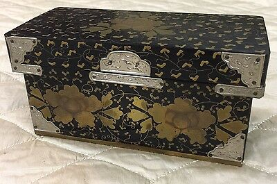Vintage Gold Leaf Black Lacquered Box Handmade Silver Metal Asian Antique Gilt