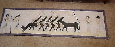 OLD Vintage Hand Made Appliquéd Panel of Donkeys with 'Egyptian' People