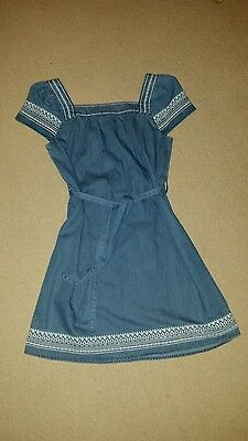 Johnnie B Chambray tunic dress age 11-12 with embroidered detail Ex Condition