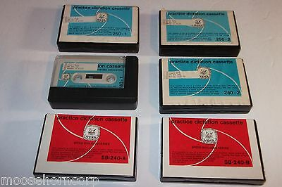 6 Dictation Practice Cassette Tape Lot -Full Size -Shorthand NSRA -FREE SHIPPING