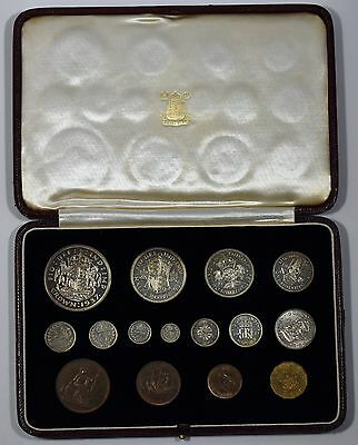 1937 George VI Specimen Proof 15 Coin Set – Crown to Farthing with Maundy