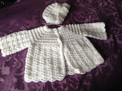 a new hand crochet baby cardigan & hat set white with silver thread 3 - 6 months