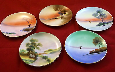 Vintage Meito China Hand Painted Nappy Made in Japan Lot of 5 Plates Gold Rims