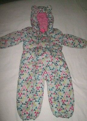GIRLS NEXT COSY ALL IN ONE SNOWSUIT 18-24 MONTHS 1.5-2 YEARs