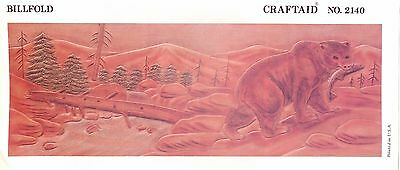 """Leather """"Craftaid"""" Hard Plastic Tooling Pattern #2140   Bear in Woods NEW!"""
