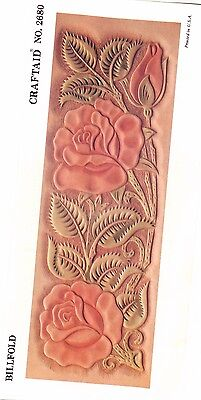 "Leather ""Craftaid"" Hard Plastic Tooling Pattern #2680   Classic Rose  NEW!"