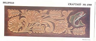 """Leather """"Craftaid"""" Hard Plastic Tooling Pattern #2760   Flowers and Fish  NEW!"""