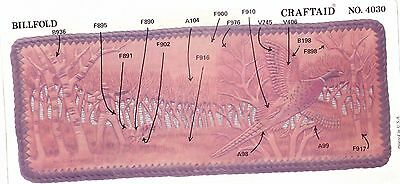 """Leather """"Craftaid"""" Hard Plastic Tooling Pattern #4030  Woods and Pheasant  NEW!"""