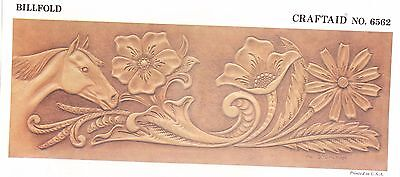"""Leather """"Craftaid"""" Hard Plastic Tooling Pattern #6562 Flowers and Horse NEW!"""