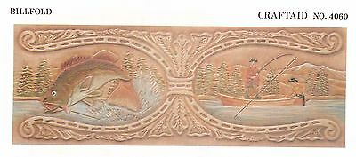 """Leather """"Craftaid"""" Hard Plastic Tooling Pattern #4060  Fisherman and Fish NEW!"""