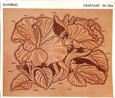 """Leather """"Craftaid"""" Hard Plastic Tooling Pattern #2785  7X9"""" Flowers NEW!"""