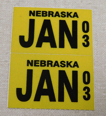 2003 Nebraska passenger car license plate sticker pair