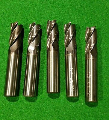 5 New  4 Flute 1/2 End Mill, Solid Carbide Tialn Coated