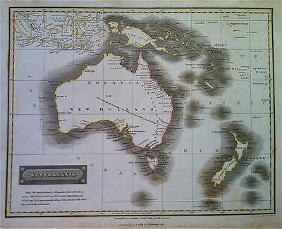 Map of AUSTRALIA & new Zealand c1816 by SIDNEY HALL, 100% Original Engraved, VGC