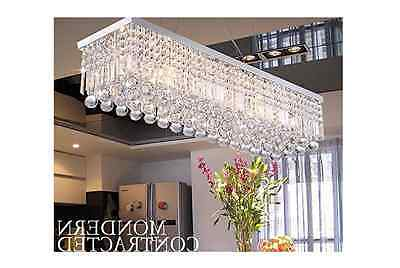 Dining Room Crystal Chandelier Light Fixtures Polished Chrome Decor Accent Home