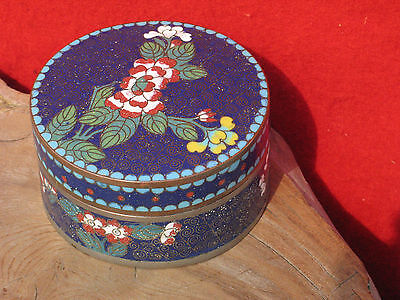 A1024 Antique Chinese Cloisonne Enamel Floral Trinket Box