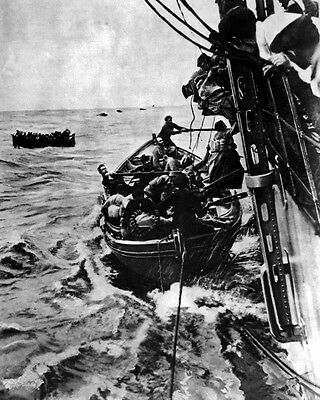 New 8x10 World War I Photo: Passenger Rescue from Torpedoed French Liner SONTAY