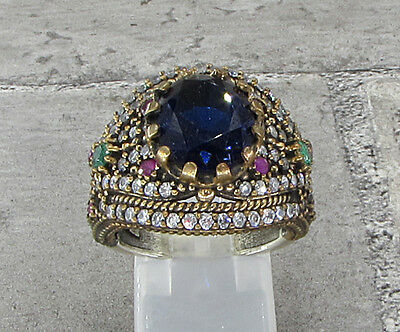 925 SILVER VINTAGE ANTIQUE FINISH SAPPHIRE & TOPAZ COCKTAIL RING 11g - Sz 8