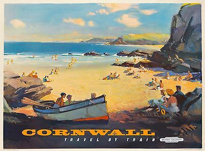 Cornwall Great Britain British England Vintage Travel Advertisement Poster