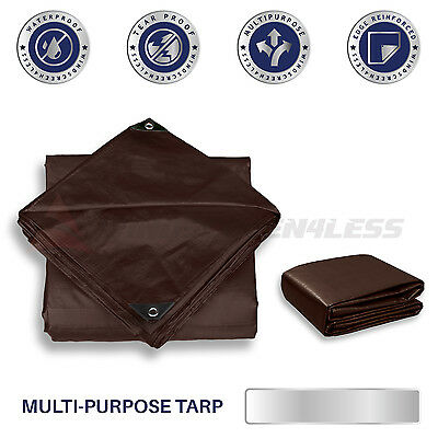 Brown Heavy Duty 16 mil Tarp Reinforced Resistant Cover Tent Shelter Canopy